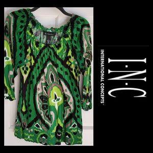 INC Green Pattern 3/4 Sleeves Blouse EUC Medium
